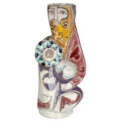 Elio Schiavon Italian Figurative Sculptural 'Guerriero' Pottery Vase