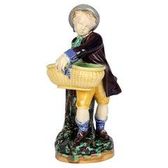 Minton Majolica Pottery Boy Holding a Basket Probably for Salt