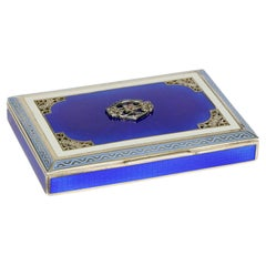 Viennese Austrian Silver Gilt Guilloche Enamel Gem Set Box
