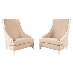 Pair of Modern High Back Lounge Chairs with Designer Cream Velvet