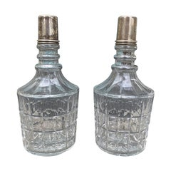 Pair of 20th Century Crystal Decanters with Sterling Tops, Possibly by Hawkes