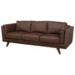 European Mid Century Style Leather Sofa