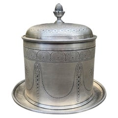 19th Century English Round Silvered Plated Biscuit Box, Artichoke Finial, Marked
