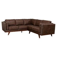European Mid Century Style Leather Sectional Sofa