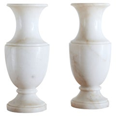 Extra Large Pair of White Carrara Marble Vases