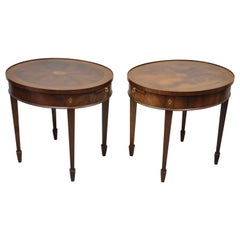 Mahogany Pinwheel Inlay Oval Federal Lamp End Table Pull Out Surface, a Pair