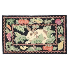 Vintage Garden Rabbit Hooked Rug with French Country Cottage Style