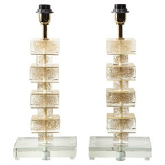 Pair of Gold Infused Murano Glass Cubist Table Lamps