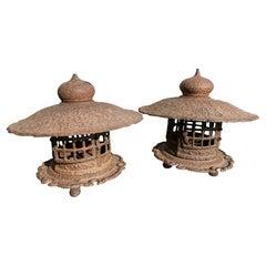 Japanese Matching Pair Antique Yukimi Lanterns, Signed