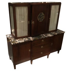 Art Deco Oak Sideboard With A Marble Top and Display Cabinet, Vienna 1920