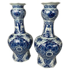 Pair Blue and White Delft Vases with Hand-Painted Decoration 18th Century c-1780