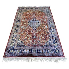 Authentic Persian Silk Kashan Rug, circa 1970s