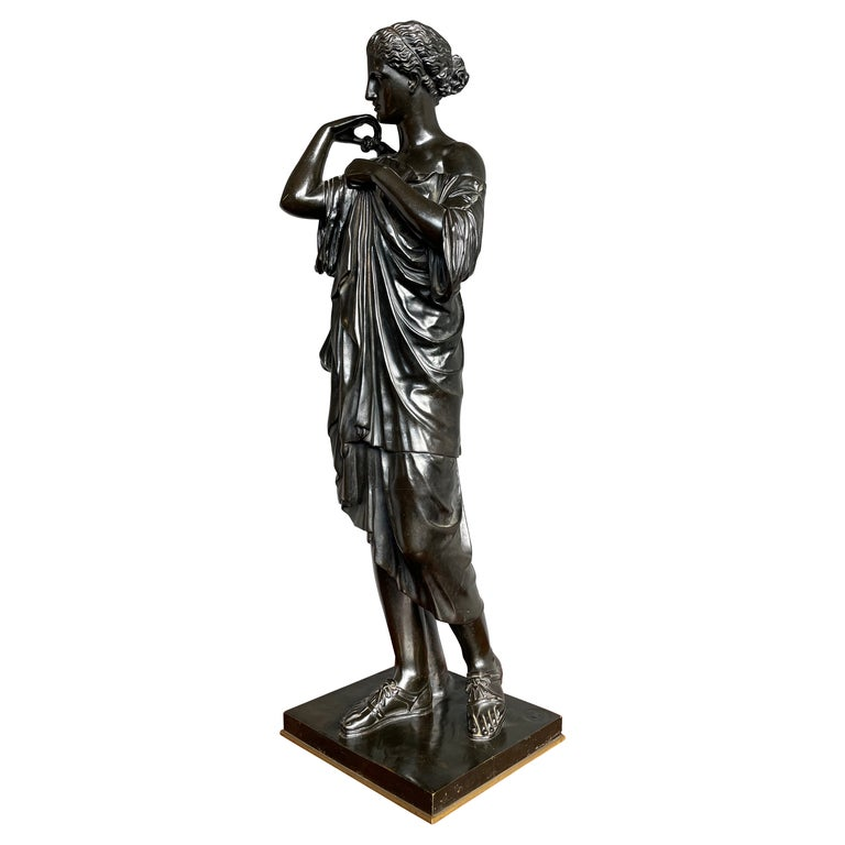Antique Bronze Diana of Gabii Sculpture Made & Marked F. Barbedienne & L. Collas For Sale