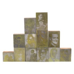 Collection of Gold Typeset Portrait Print Blocks c.1960, Three Sets Available