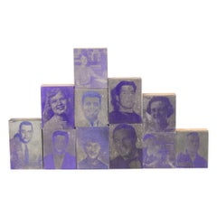 Collection of Purple Typeset Portrait Print Blocks c.1960-Two Sets Available