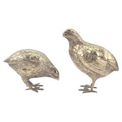 Pair of Antique Silver Plated Quail or Game Bird Decorative Sculptures