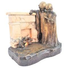 Antique Signed Bronze & Marble Lighted Table Sculpture of a Fireside Vignette