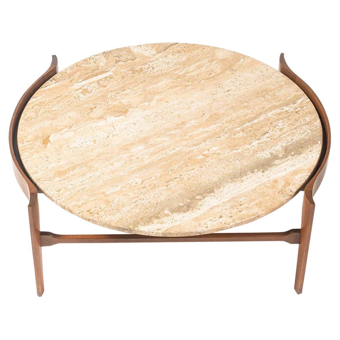 Bertha Schaefer Travertine Round Coffee Table