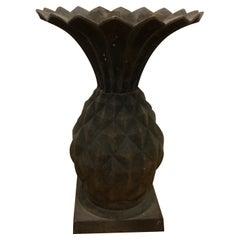 Antique Cast Iron Pineapple Planter Urn, Art Nouveau