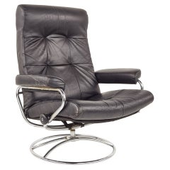 Ekrones Mid Century Black Leather and Chrome Lounge Chair