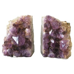Natural Purple Amethyst Sculptures or Bookends, Pair