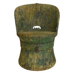 18c Green Swedish Kubbestol Chair