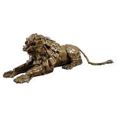 Pal Kepenyes Resting Lion Bronze Sculpture