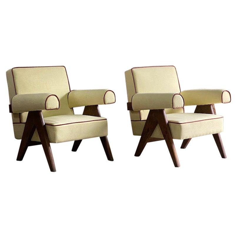 Pierre Jeanneret PJ-010806 'Easy Lounge' Armchairs Chandigarh, Circa 1958-59