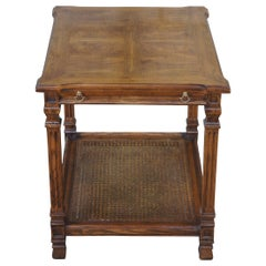 Mid Century Oak & Olive Ash Burl Caned Two Tier Side Accent Tea Tray Table