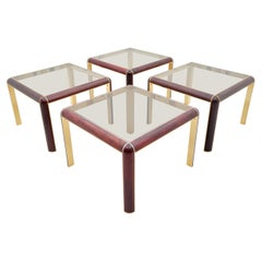 One of Four Mahogany, Brass and Glass Side Tables, 1980s