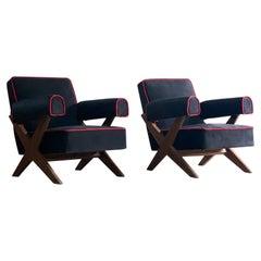 Pierre Jeanneret PJ-010806 'Easy Lounge' Armchairs Set 2 Circa 1958-59