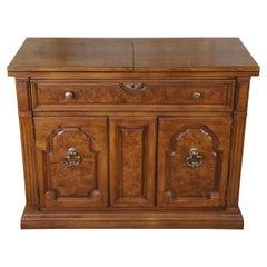 Thomasville Walnut & Ash Burl Rolling Buffet Flip Top Server Sideboard Cabinet