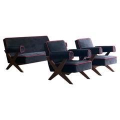Pierre Jeanneret PJ-010806 'Easy Lounge' Sofa & Armchairs Set 2 1958-59