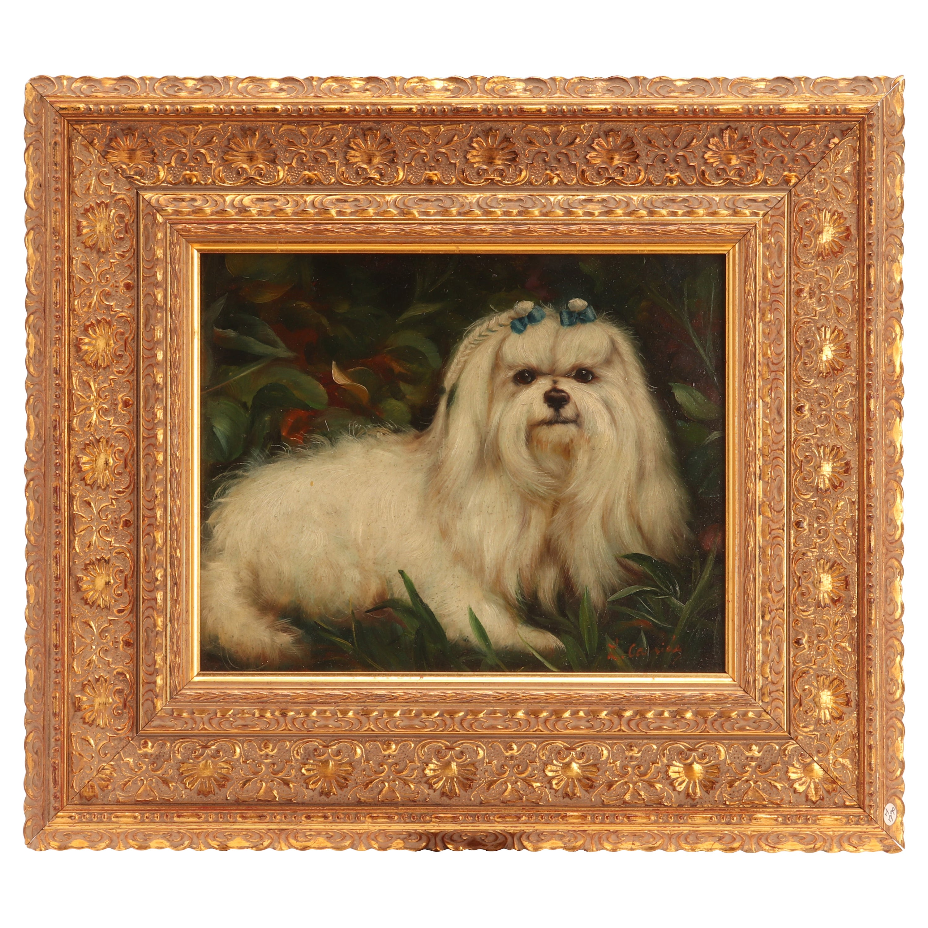 Painting Oil on Canvas Depicting a Maltese Dog, France, 1880, Dipinto