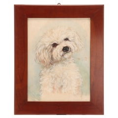 Watercolor Painting Depicting a Poodle, England, 1930