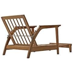 Scandinavian Adjustable Chaise Longue in Oak