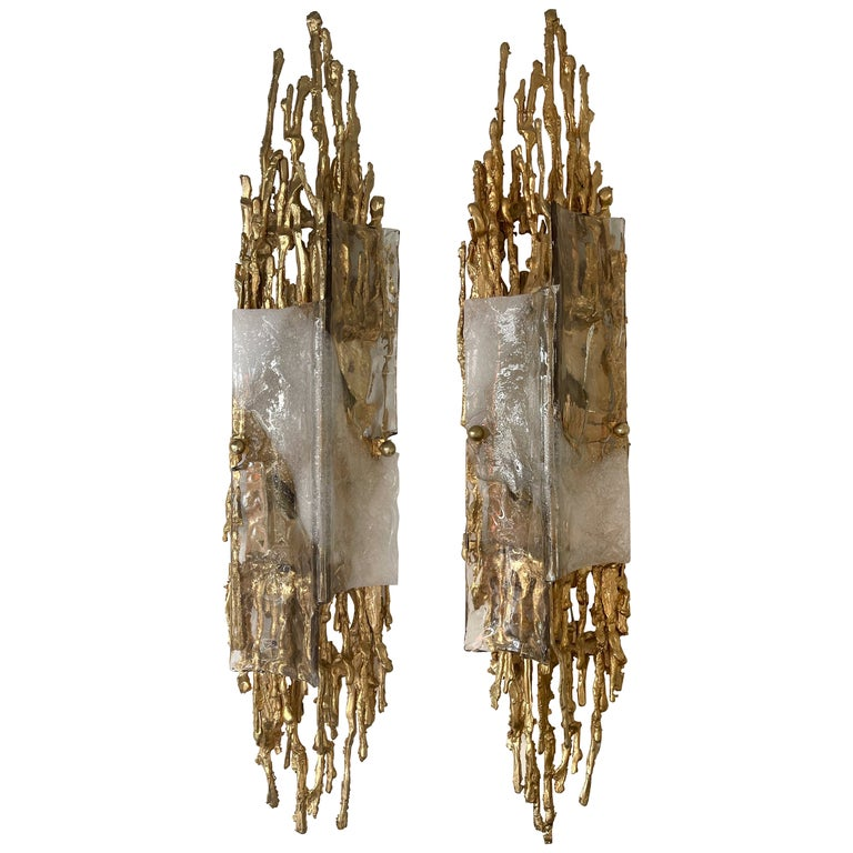 Pair of Gilt Bronze Murano Glass Sconces by Claude Victor Boeltz, France, 1970s For Sale