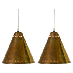 Brass Pendants with Perforated Lampshade