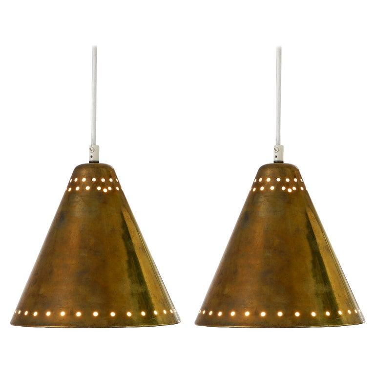 Brass Pendants with Perforated Lampshade For Sale