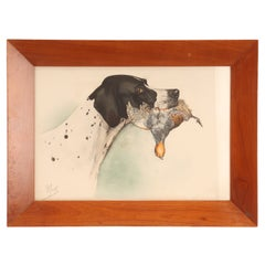Watercolor Finished Print Depicting the Head of a Pointer Dog, USA, 1920