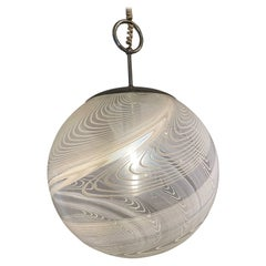 Pair Italian Modern White and Clear Handblown Glass Globe Chandelier, Vistosi