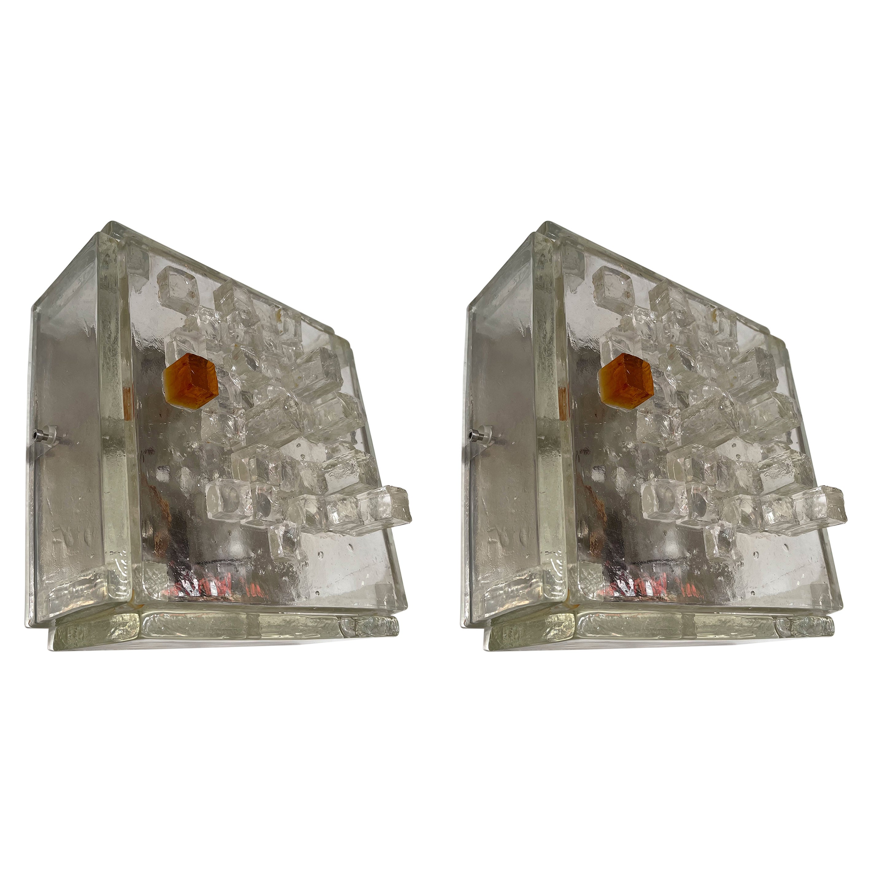 Pair of Apis Glass Cube Sconces by Poliarte, Italy, 1970s