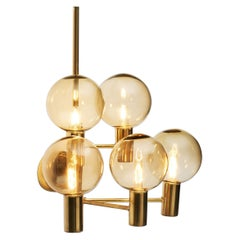 Hans-Agne Jakobsson Brass Wall Lamp with Smoked Glass Shades, Sweden, 1960s