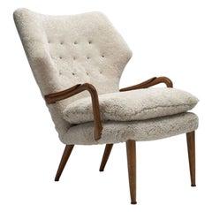 Danish Mid-Century Oak and Teak Easy Chair, Denmark, 1950s