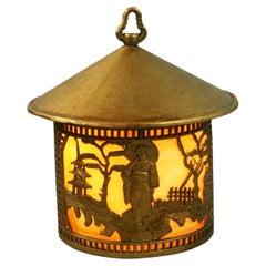 Japanese Garden Scene Lantern with Bent Glass