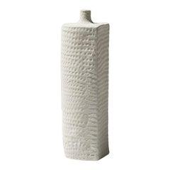 21st Century Flat Side White Matt Vase by Ceramica Gatti, designer A. Anastasio