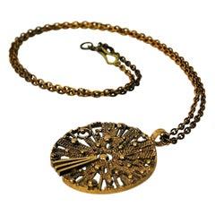 Round Sunshaped Vintage Bronze Necklace, 1960-1970s
