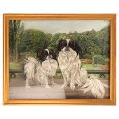 Pastel Painting Depicting Two Pekingese Dogs, England, 1920