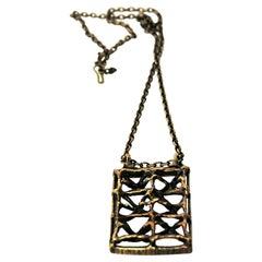 Rectangular Vintage Scandinavian Bronze Necklace from the 1970s