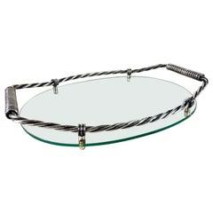 Mid Century Italian Silvered Glass Tray by Vitrex, circa 1960